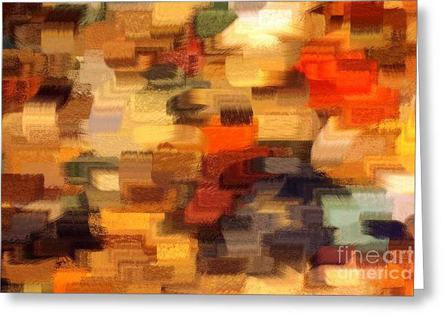 Warm Colours Abstract Greeting Cards - Warm Colors Abstract Greeting Card by Carol Groenen