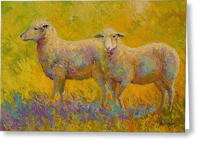Warm Glow - Sheep Pair Greeting Card by Marion Rose
