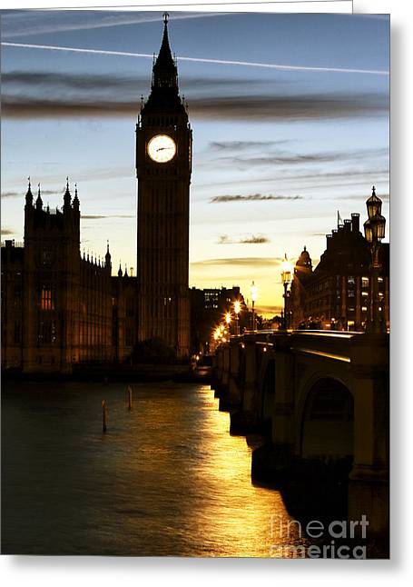 Sunset Prints Greeting Cards - Warm Glow on the Thames Greeting Card by John Rizzuto