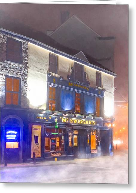 European Restaurant Greeting Cards - Warm Irish Pub On A Cold Winter Night In Galway Greeting Card by Mark Tisdale