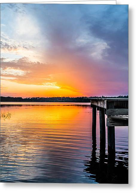 Wooden Dock Greeting Cards - Warm Light Greeting Card by Shelby  Young