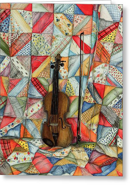 Music Time Drawings Greeting Cards - Warm Melodies Greeting Card by Robin Martin Parrish