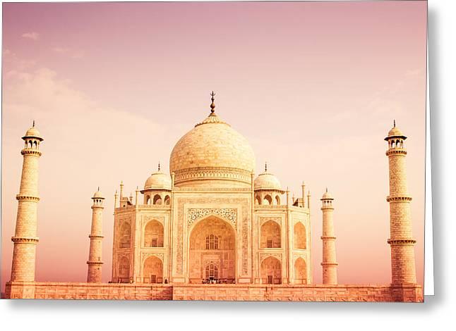 Warm Tones Greeting Cards - Warm Taj Mahal Front View Greeting Card by Nila Newsom