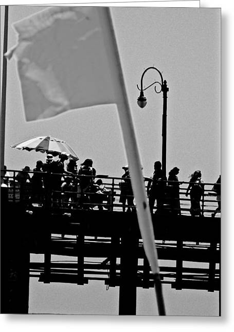 California Beach Greeting Cards - Warning Flagged Greeting Card by Jacqueline Howe