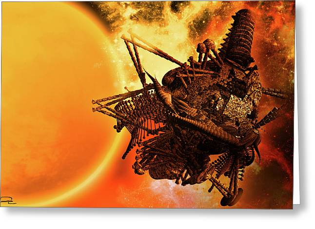 Scifi Greeting Cards - Warp Drive To Another Sun Greeting Card by Emma Alvarez