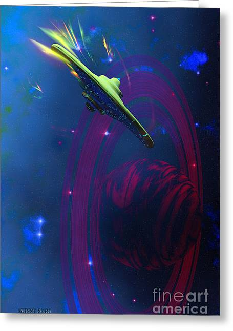 Warp Pulse Greeting Card by Corey Ford