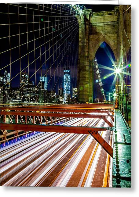 Famous Bridge Greeting Cards - Warp Speed Out Of Manhattan Greeting Card by Az Jackson