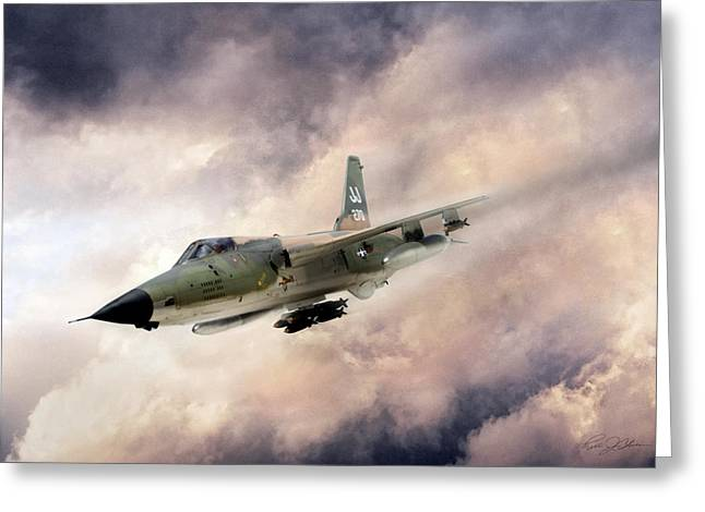 Dogs Digital Art Greeting Cards - Warpath F-105 Greeting Card by Peter Chilelli