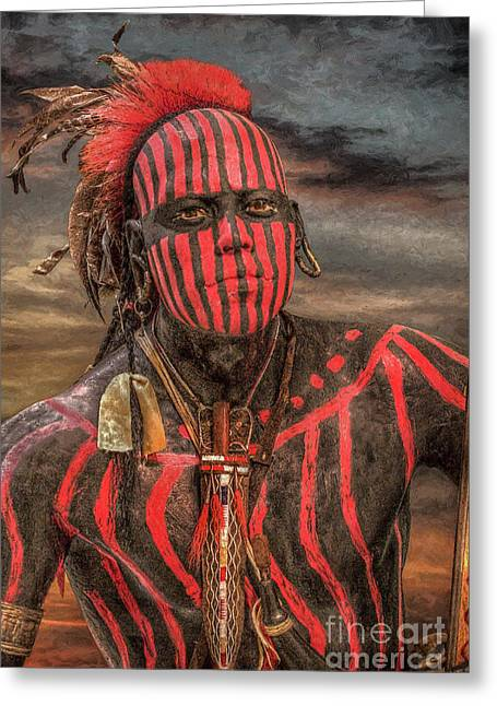 Recently Sold -  - Powder Greeting Cards - Warpath Shawnee Indian Greeting Card by Randy Steele