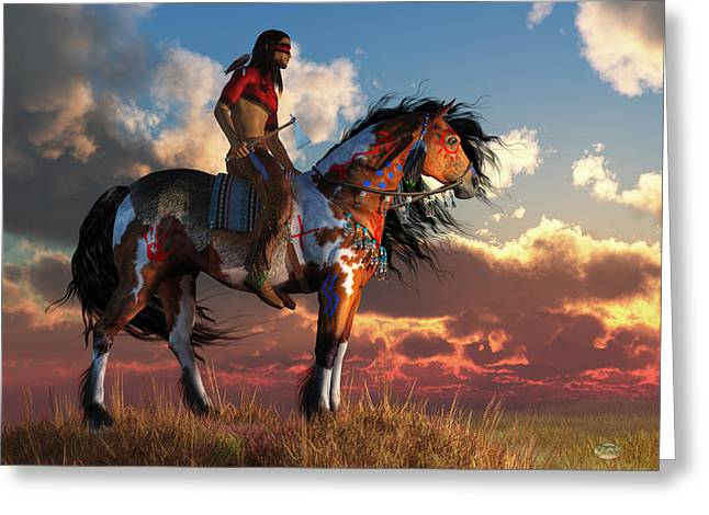 Bravery Greeting Cards - Warrior and War Horse Greeting Card by Daniel Eskridge
