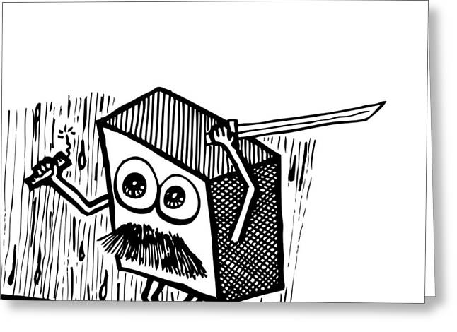 Mustache Greeting Cards - Warrior Box Greeting Card by Karl Addison