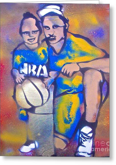 Basketballs Greeting Cards - Warrior Father Greeting Card by Tony B Conscious