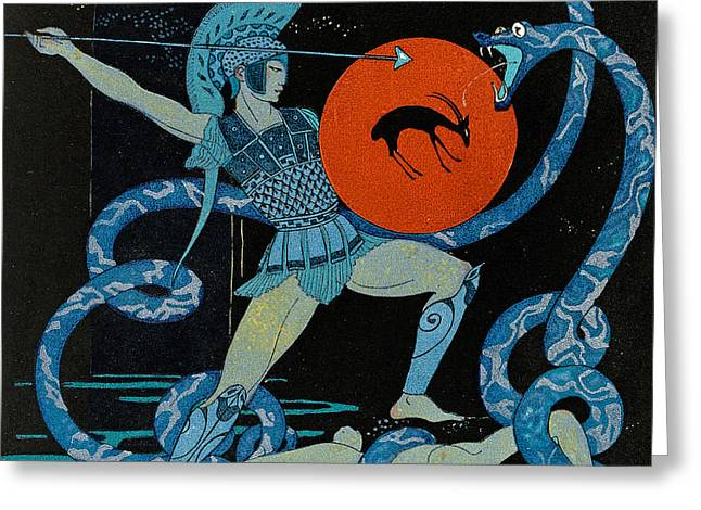 Goat Drawings Greeting Cards - Warrior Greeting Card by Georges Barbier