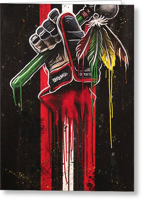 Hockey Art Greeting Cards - Warrior Glove on Black Greeting Card by Michael Figueroa
