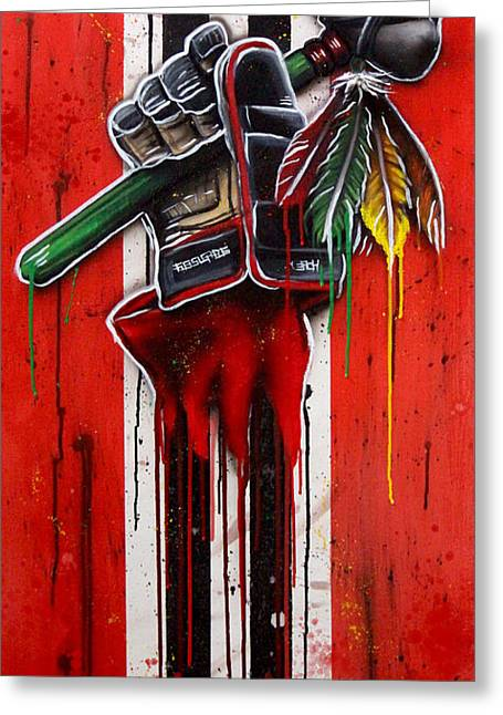 Hockey Paintings Greeting Cards - Warrior Glove on Red Greeting Card by Michael T Figueroa