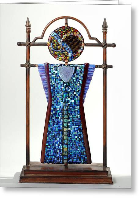 Fused Glass Art Greeting Cards - Warrior Moon Greeting Card by Mark Lubich