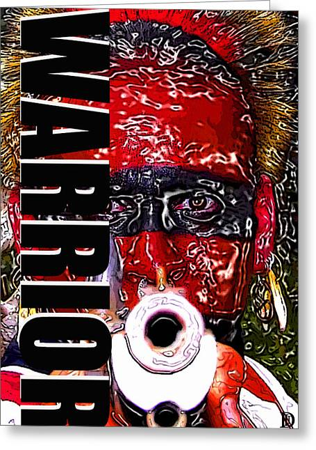 Point Blank Greeting Cards - Warrior red and black work one Greeting Card by David Lee Thompson