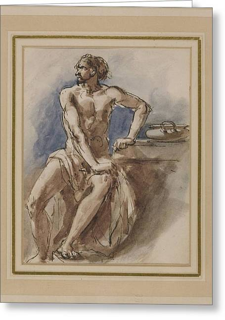 Warrior Seated At A Table Greeting Card by William Edward