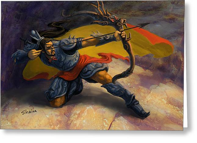 Realistic Digital Art Greeting Cards - Warrior Greeting Card by Shaina  Lee
