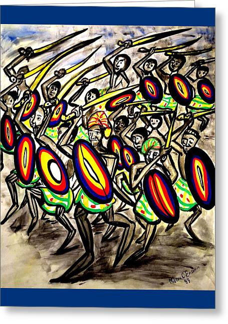 Warrior With Servants Greeting Card by Mbonu Emerem