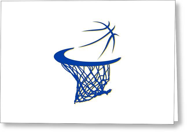 Basket Ball Greeting Cards - Warriors Basketball Hoop Greeting Card by Joe Hamilton