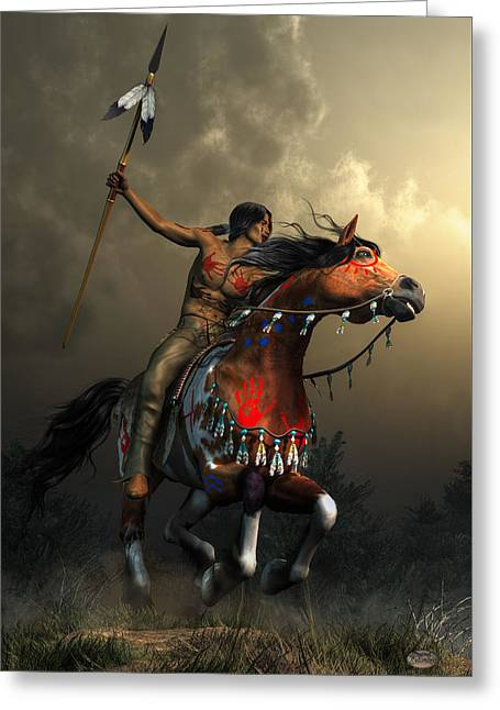 The Plains Greeting Cards - Warriors of the Plains Greeting Card by Daniel Eskridge