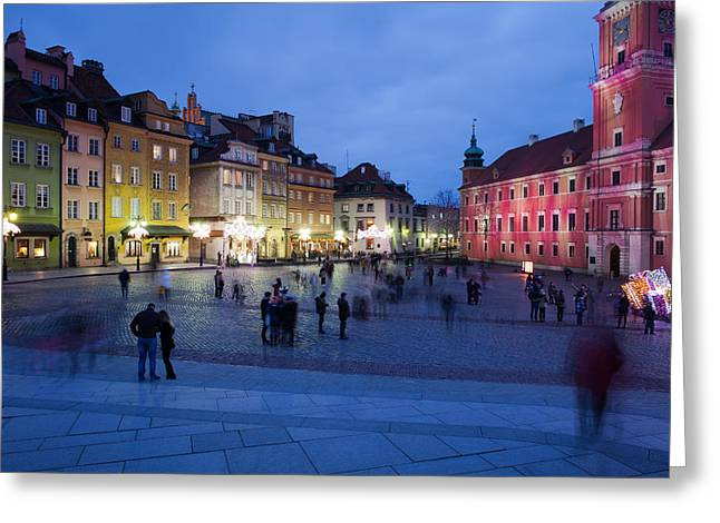 Old Home Place Greeting Cards - Warsaw by Night in the Old Town Greeting Card by Artur Bogacki