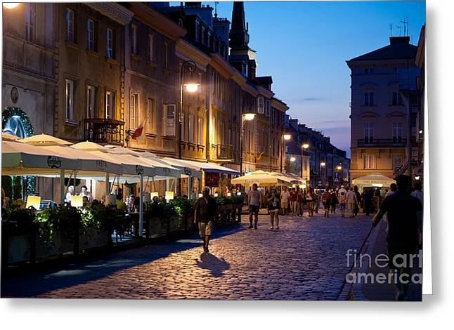 Old Street Greeting Cards - Warsaw nightlife tourist place Greeting Card by Arletta Cwalina