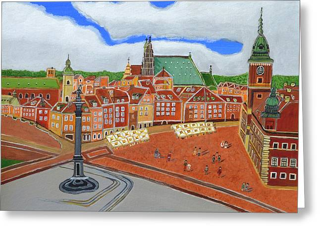 Town Square Greeting Cards - Warsaw- Old Town Greeting Card by Magdalena Frohnsdorff