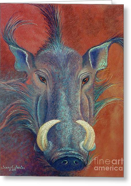 Pigs Pastels Greeting Cards - Warthog Defiance Greeting Card by Tracy L Teeter