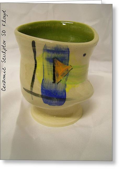 Handmade Pottery Ceramics Greeting Cards - Wasabi cup Greeting Card by Sandi Floyd