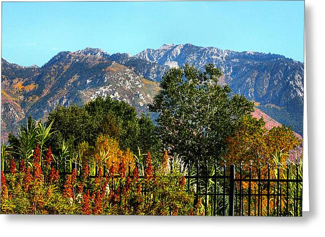 Snow Covered Fence Greeting Cards - Wasatch Mountains In Autumn Greeting Card by Tracie Kaska