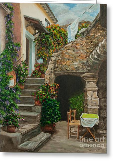 European Restaurant Greeting Cards - Wash Day Greeting Card by Charlotte Blanchard