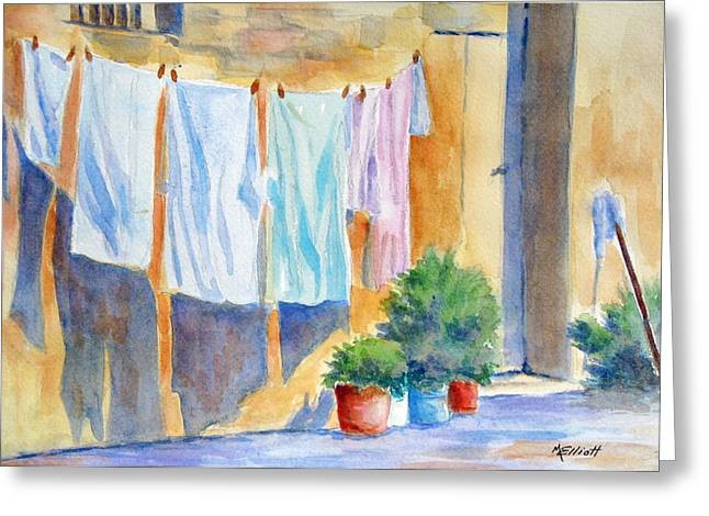 Wash Day In Marsaxlokk Greeting Card by Marsha Elliott