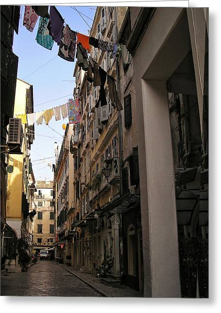 Wash Day In Old Corfu Town Greeting Card by Connie Handscomb