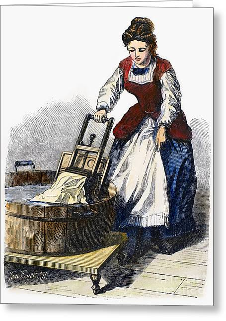 Laundress Greeting Cards - Washboard, 1870 Greeting Card by Granger