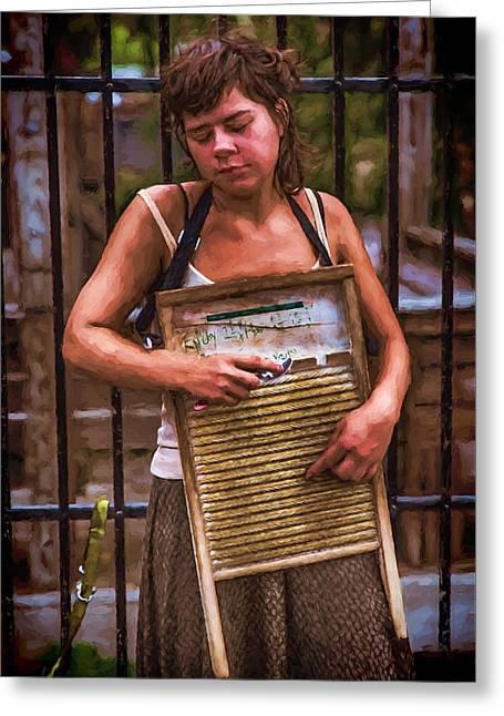 Creative People Greeting Cards - Washboard Woman on the Street Greeting Card by John Haldane