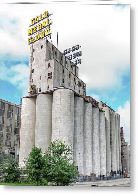 Washburn Mill And Gold Medal Flour Sign In Minneapolis Greeting Card by Jim Hughes