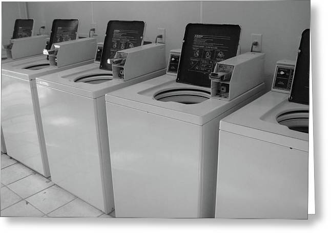 Laundry Mat Greeting Cards - Washers Greeting Card by WaLdEmAr BoRrErO