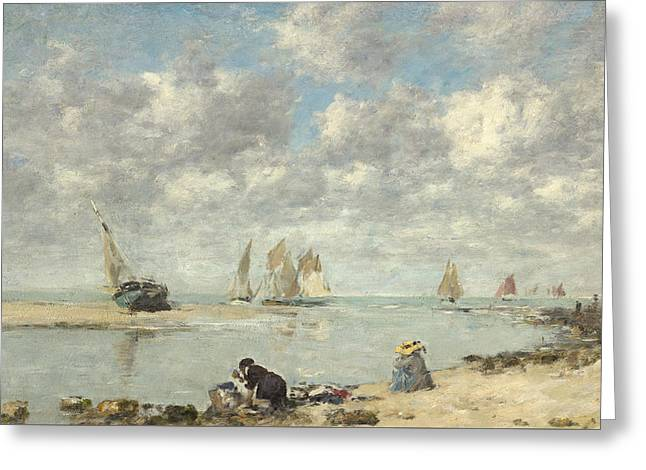Sailboat Art Greeting Cards - Washerwoman near Trouville Greeting Card by Eugene Louis Boudin