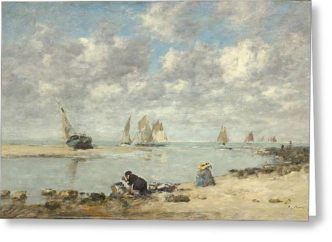 Sailboat Art Greeting Cards - Washerwoman Near Trouville Greeting Card by Eugene Boudin