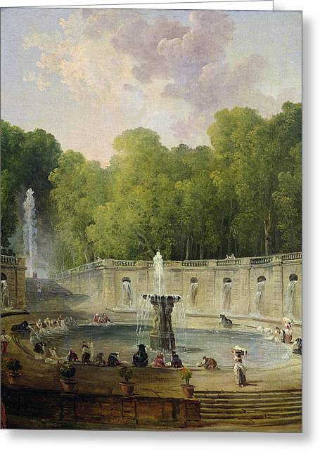 Running Water Greeting Cards - Washerwomen in a Park Greeting Card by Hubert Robert