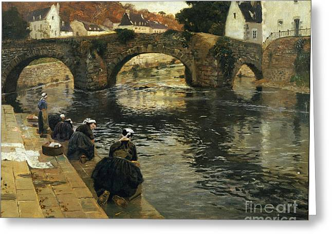 Chore Greeting Cards - Washerwomen in the Morning at Quimperle  Greeting Card by Fritz Thaulow