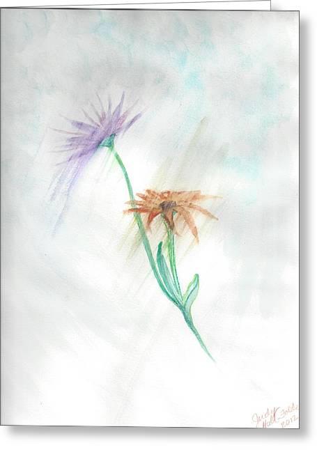 Judy Hall-folde Greeting Cards - Washing Away Greeting Card by Judy Hall-Folde