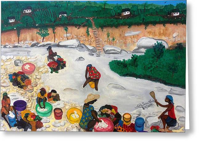 Washing Clothes By The Riverside In Haiti Greeting Card by Nicole Jean-Louis