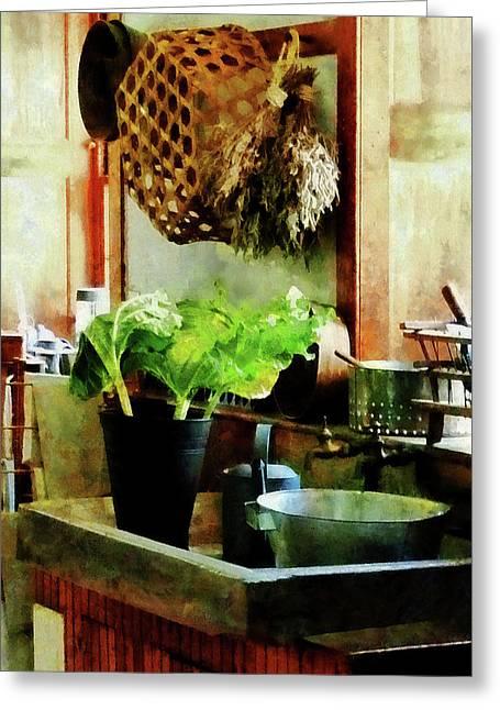 Baskets Greeting Cards - Washing Garden Greens Greeting Card by Susan Savad