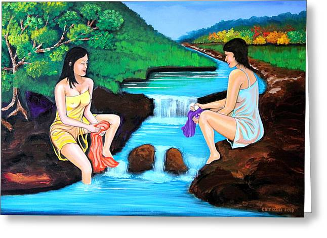 Washing In The River Greeting Card by Cyril Maza