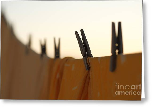 Clothes Pins Greeting Cards - Washing line Greeting Card by Gaspar Avila