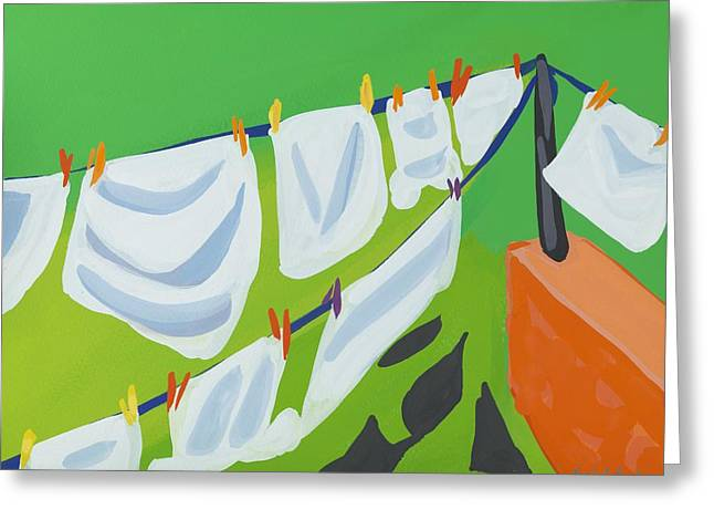 Doing Laundry Greeting Cards - Washing Line Greeting Card by Sarah Gillard
