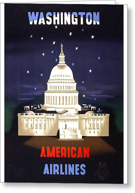 American Airlines Greeting Cards - Washington American Airlines Greeting Card by David Wagner